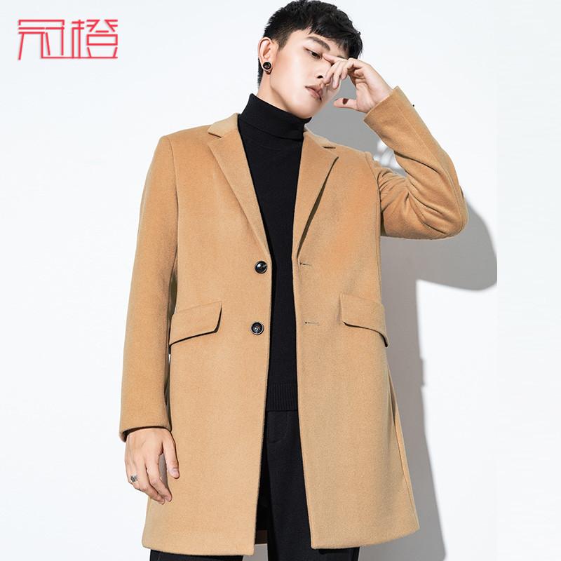 冠橙男士毛呢大衣 韩版修身呢子外套冬季新款羊毛中长款大衣