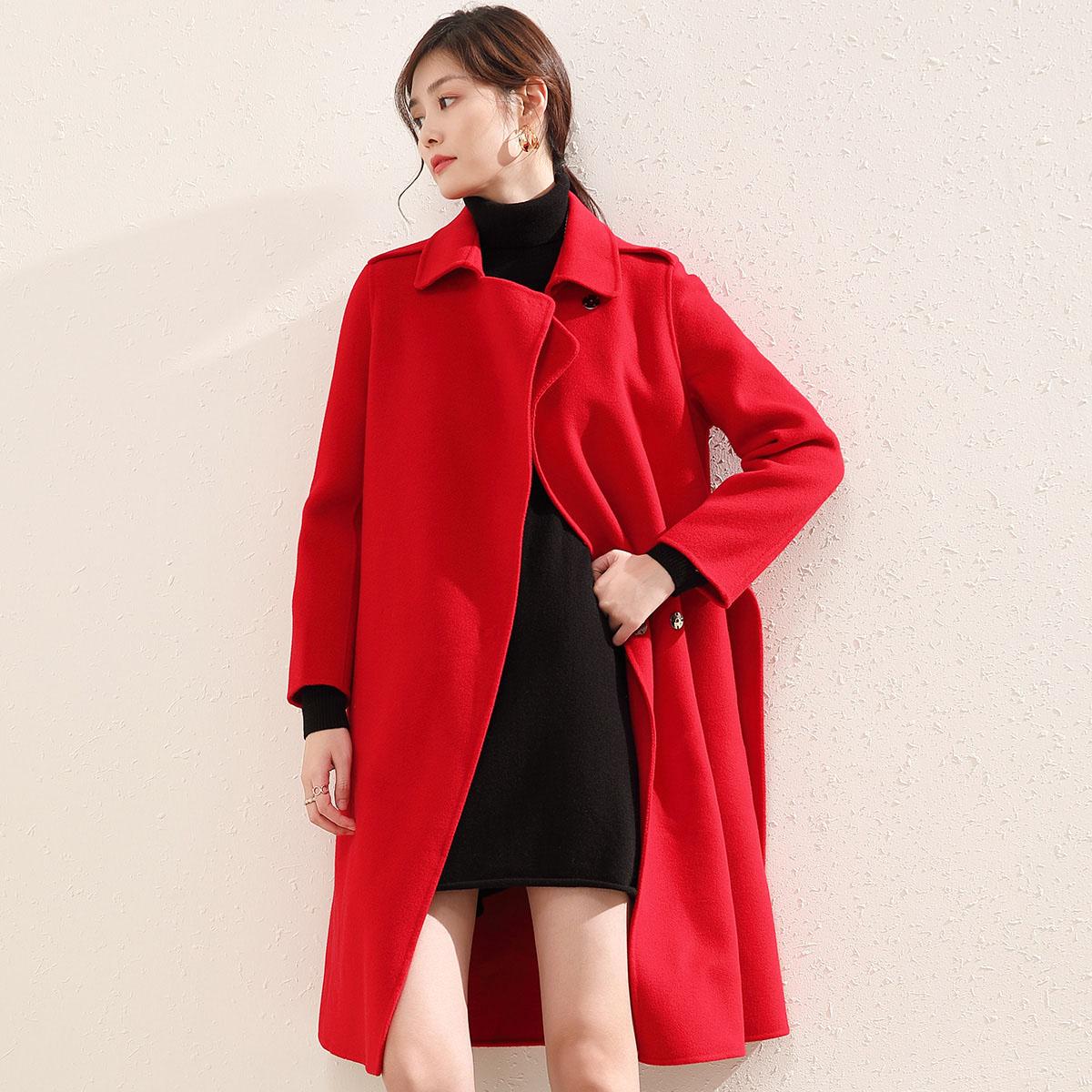 Firs/杉杉秋冬女士羊毛大衣双面料毛呢外套高品质中长款