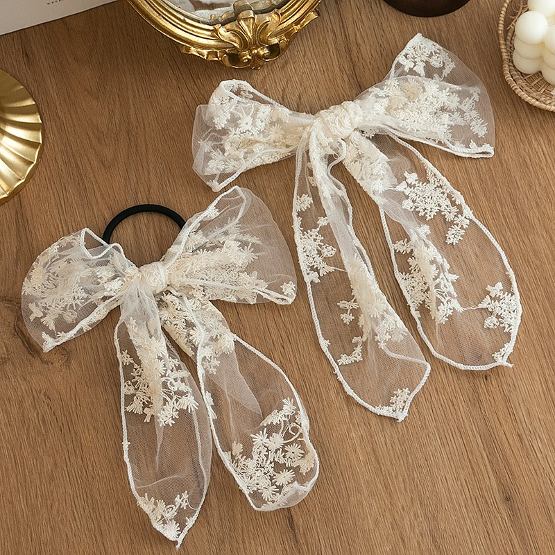Thin Style Hong Kong hairband tied with bow and retro hair, tied with lace hairband and hair rope, headdress in summer