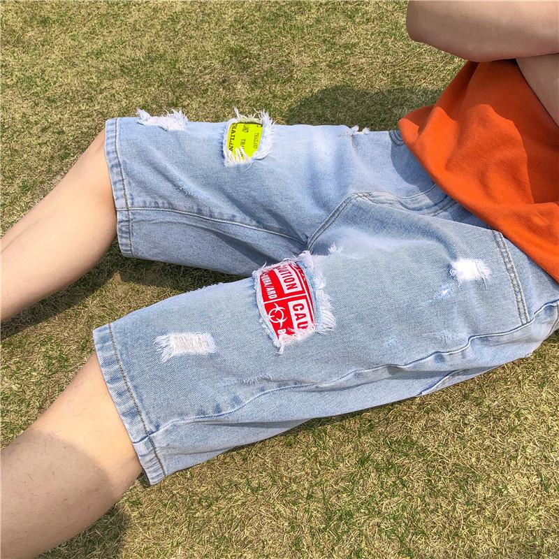 2021夏中低腰新款牛仔裤破洞乞丐短裤五分宽松休闲水洗流行青少年