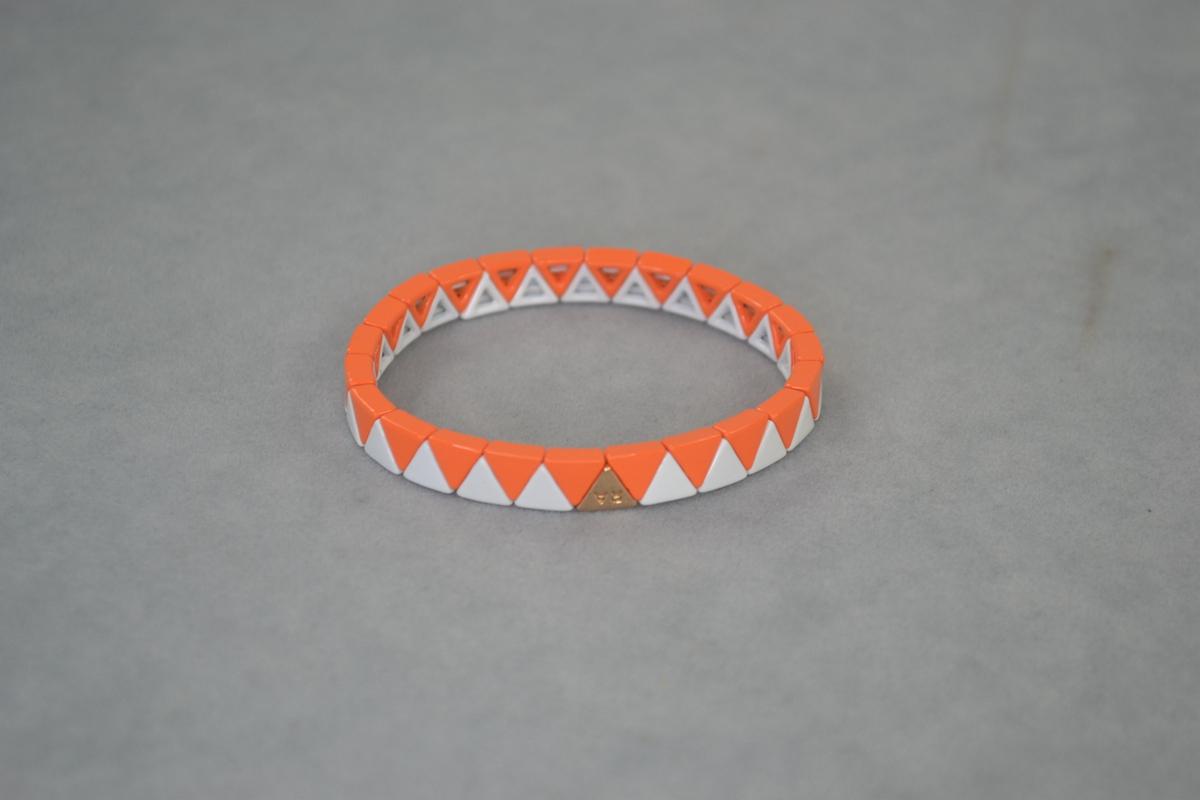 RA orange white small triangle enamel Elastic Bracelet. Grapefruit juice. beautiful