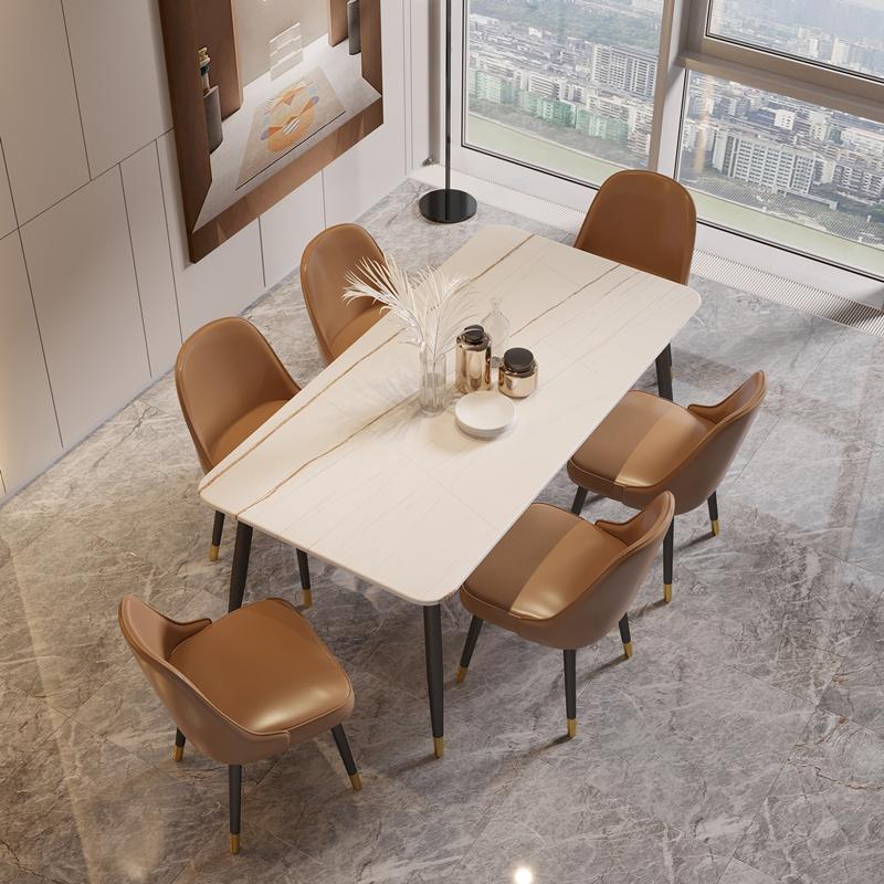 意式轻奢岩板餐桌椅组合小户型家用后现代简约大理石长方形饭桌子