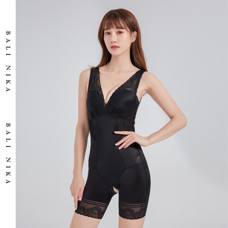 Balinika balinika lace V-neck flat leg back off body shaping suit womens body girdle and hip lifting Jumpsuit