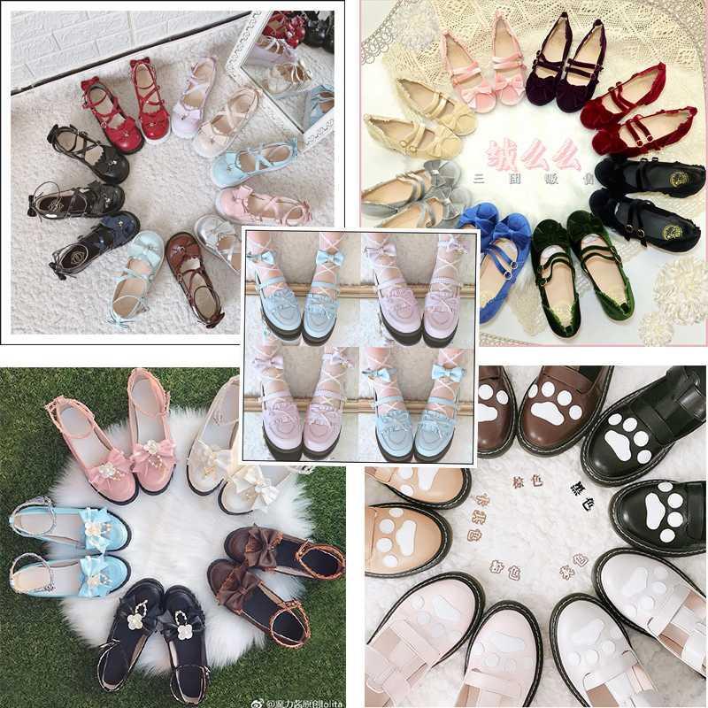 。洛麗塔の平底の低いと女性の靴の福袋、切断B品のサンプルは倉を点検します実益があります。