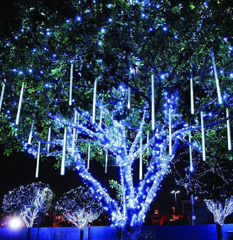 瀑布流水灯挂树上的彩灯七彩变色树灯小灯串花园灯带发光新年房间