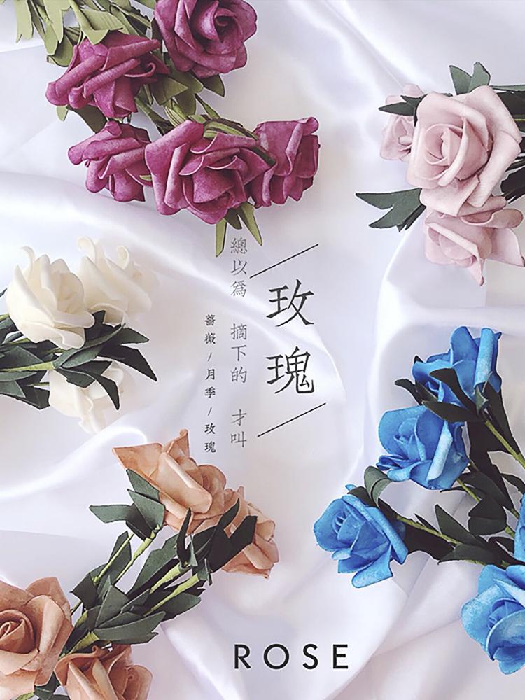 ins风仿真泡沫玫瑰花束美食生活摆拍装饰花拍照道具摄影拍摄背。