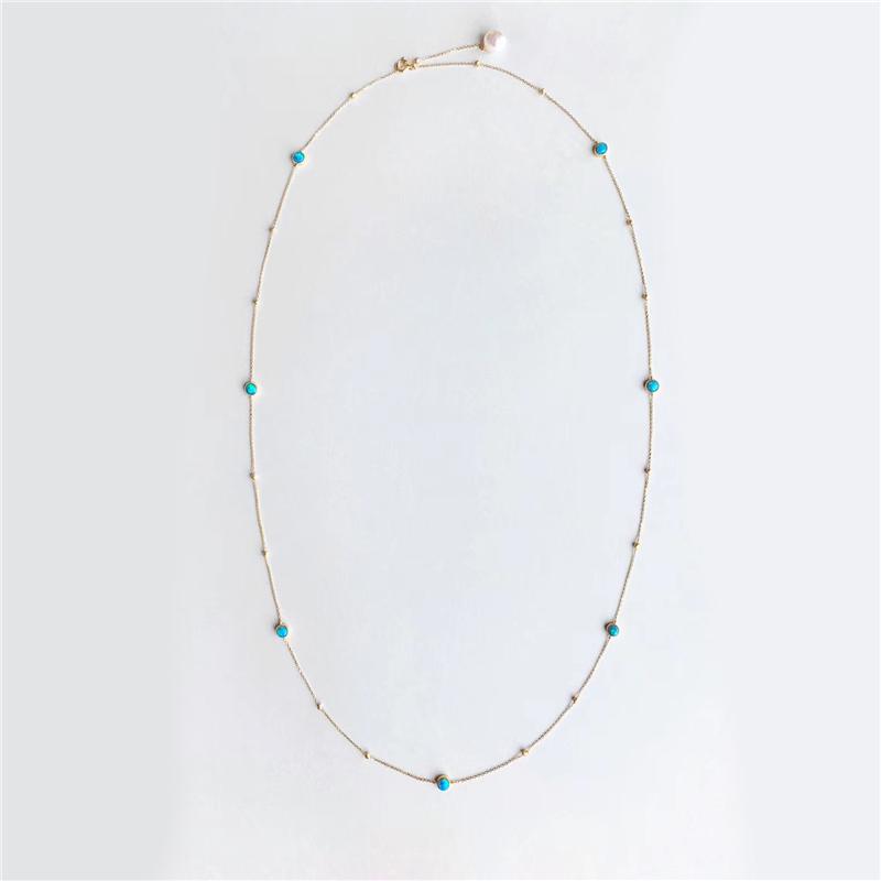AINUOSHI/瑷乐诗18K金天然蛋白石 Akoya 珍珠总长 70 厘米项链