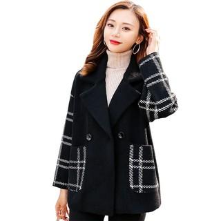 格子水貂绒毛呢外套女秋冬百搭2021年新款女装宽松显瘦女士短外套