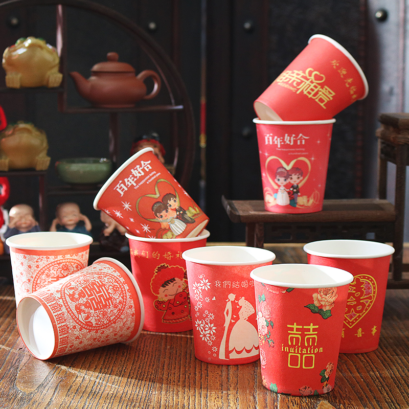 Christmas gifts wedding wedding paper cups thickened wedding banquet wedding disposable red cups festive supplies red paper