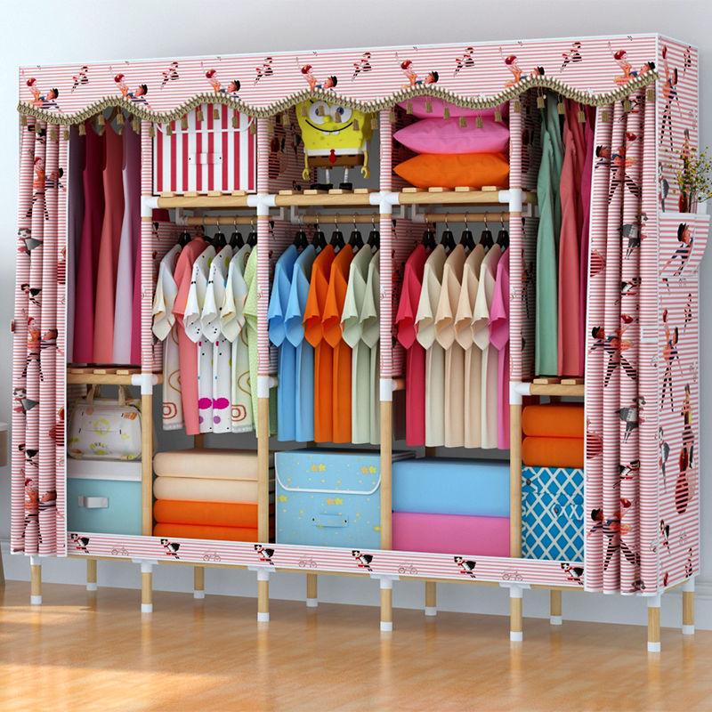 简易衣柜实木布衣柜双人大号组装衣橱折叠收纳架柜子牛津布储物a