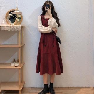 大码胖mm连衣裙女装2021年新款春秋季显瘦假两件洋气减龄复古长裙