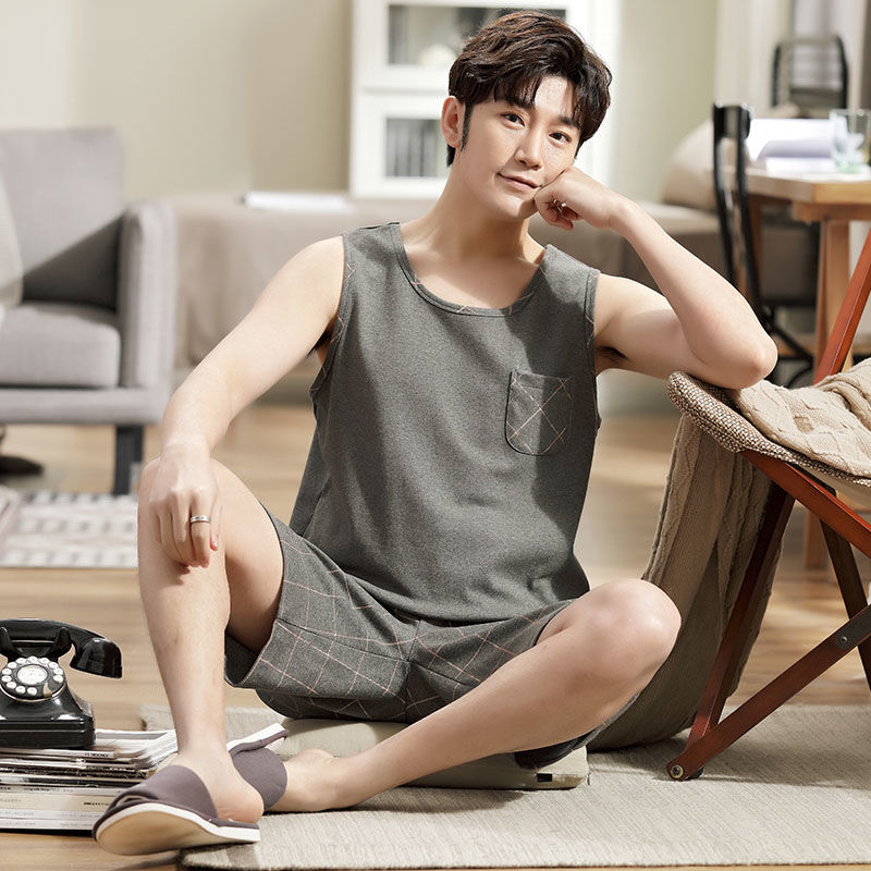 T6 mens pajamas summer cotton suit mens ultra-thin loose oversized sleeveless vest home clothes