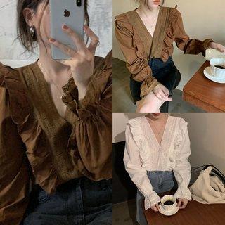 秋季2020新款设计感法式小众荷叶边V领宽松白色长袖衬衫上衣女装