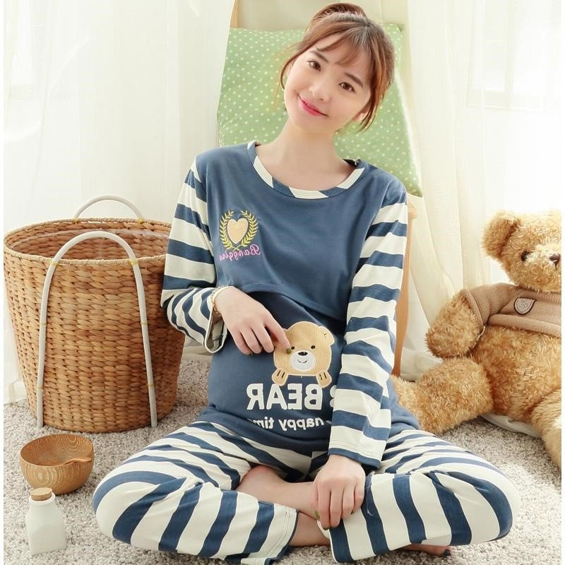 2021 maternity clothing spring and autumn pure high quality cotton long sleeve pregnant womens pajamas Maternal Nursing clothing large size home