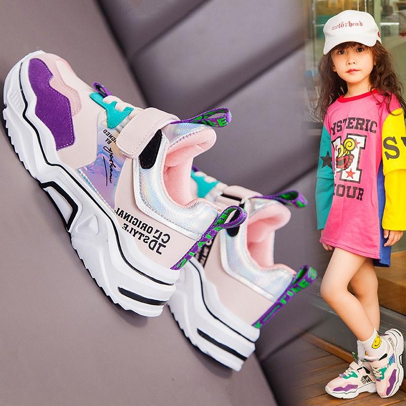 年秋冬款运动鞋新款时尚儿童学生单鞋小女孩鞋子加绒2020女童鞋