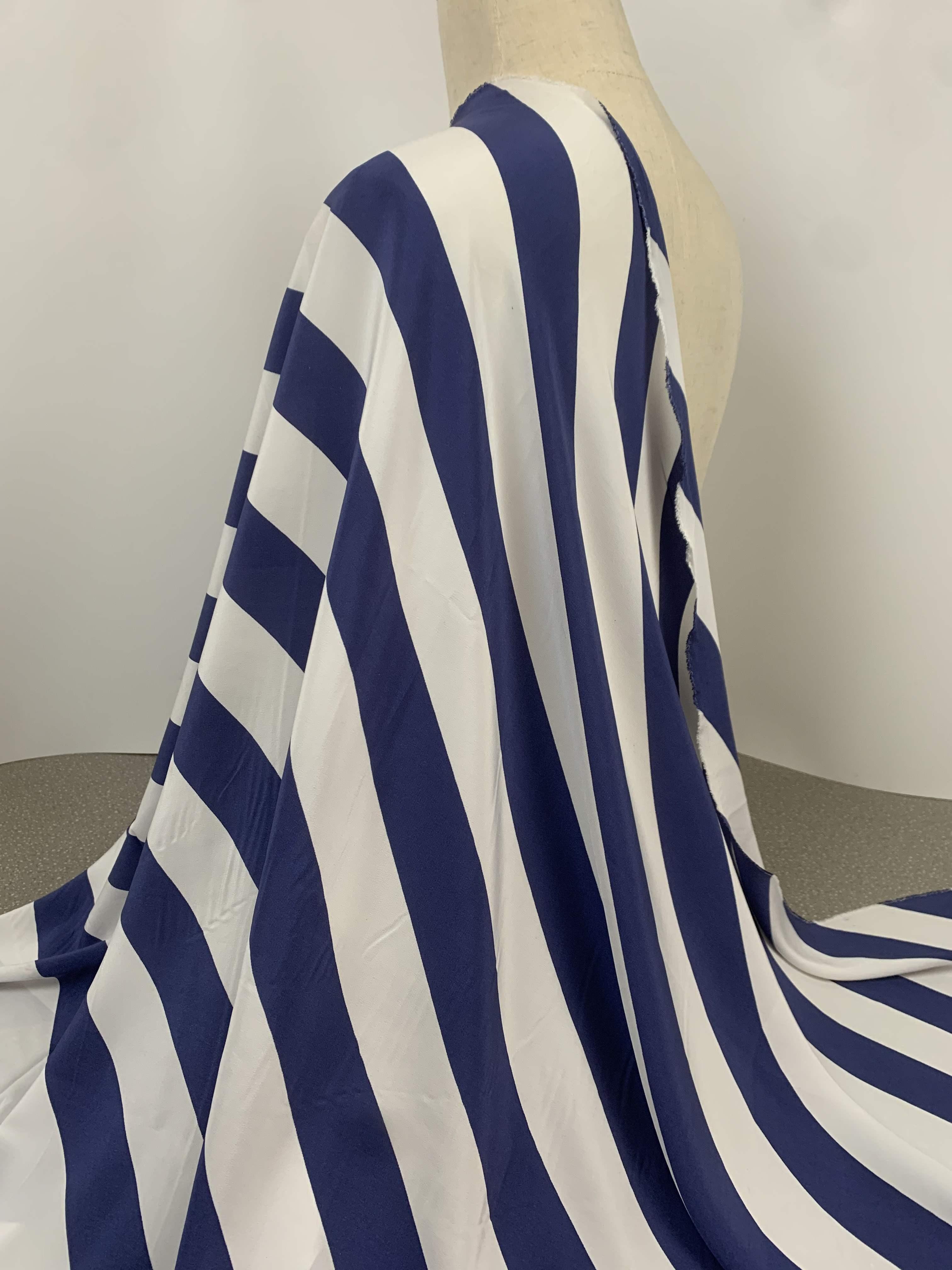 面料衬衫布料新品蓝白宽条纹真丝双绉夏季连衣裙阔腿裤桑蚕丝