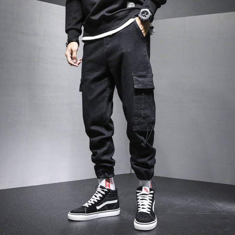 Re Shuo 2020 autumn and winter new mens jeans slim trend drawstring small leg straight pants show thin casual pants