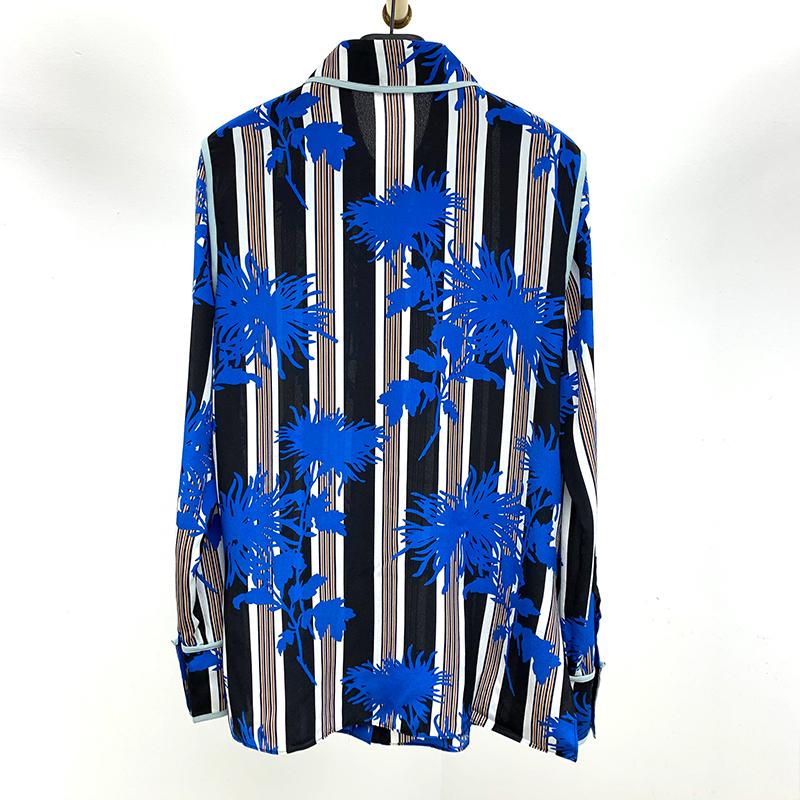 20年春季新款 真丝双绉撞色包边长袖衬衫 s上衣女