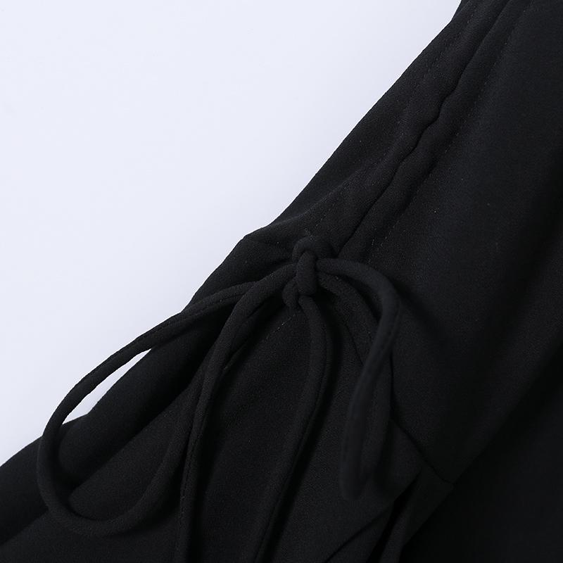 专柜去标女装S系列名媛淑女范抽绳喇叭袖连衣裙2020秋中长A字裙