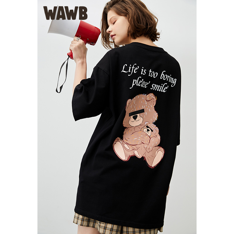 Wawb blindfolded bear print T-shirt summer tide brand pure cotton loose round neck fashion short sleeve top for men and women