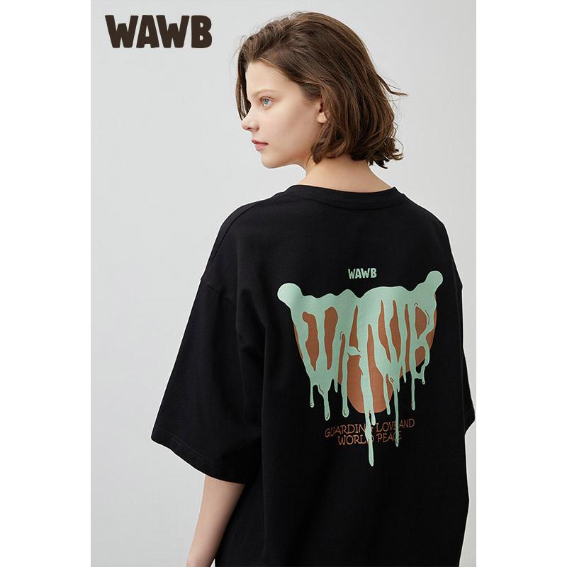 Wawb 2021 summer new illustration graffiti logo funny printed T-shirt national fashion loose and versatile round neck short sleeve