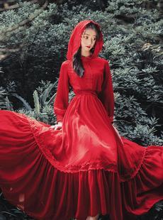 西藏青海湖旅遊衣服長袖連衣裙沙漠旅行網紅拍照紅色度假長裙飄逸