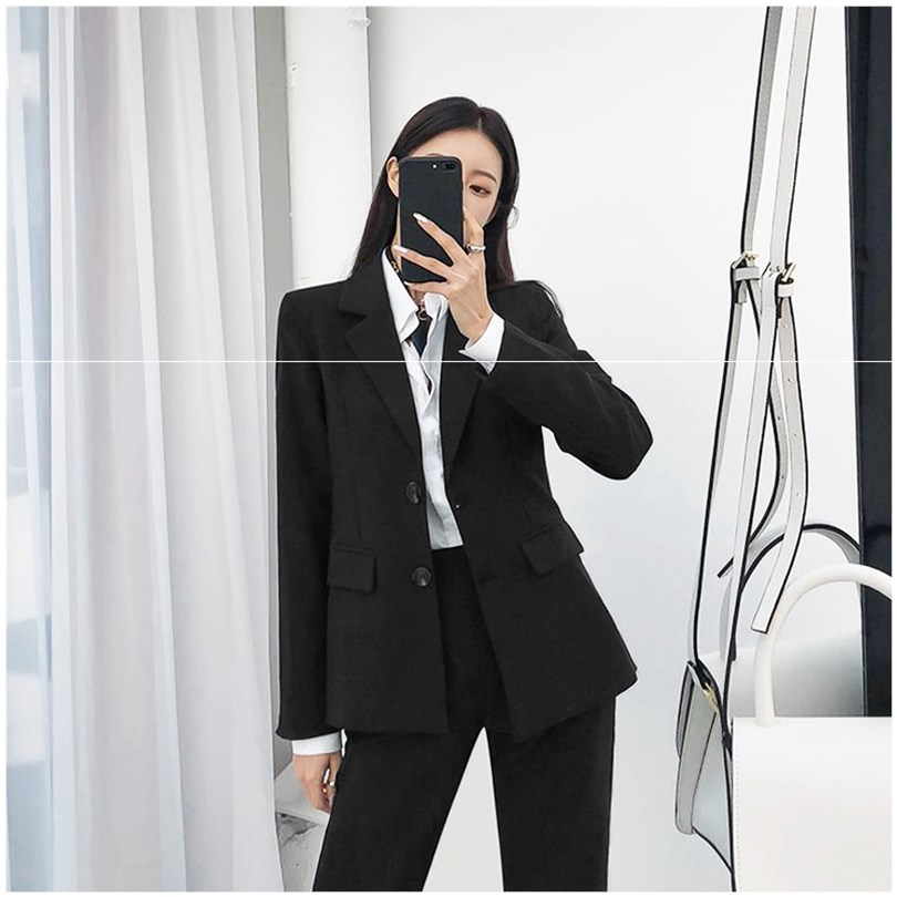Single breasted commuter slim suit work clothes autumn and winter new college students interview career suit womens fashion
