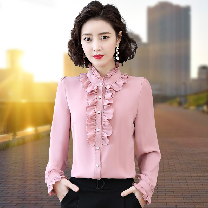 Ruffle chiffon shirt female long sleeve fungus collar 2021 spring and autumn new professional shirt foreign style bottomed top