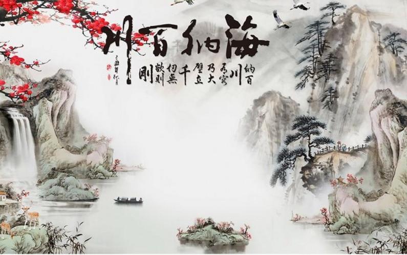 新中式电视背景墙壁纸水墨山水壁画家用客厅影视墙装饰墙纸墙布