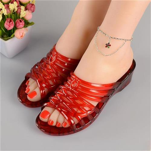 2020 new fashion crystal high heel slippers jelly transparent plastic sandal P heel slope outdoor half slippers