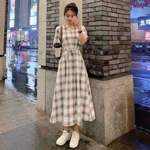格子衬衫连衣裙女2021长裙收腰裙子
