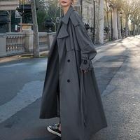 纯色排扣女款风衣外套2020秋季新款现货高个子超长舒适系腰带简约
