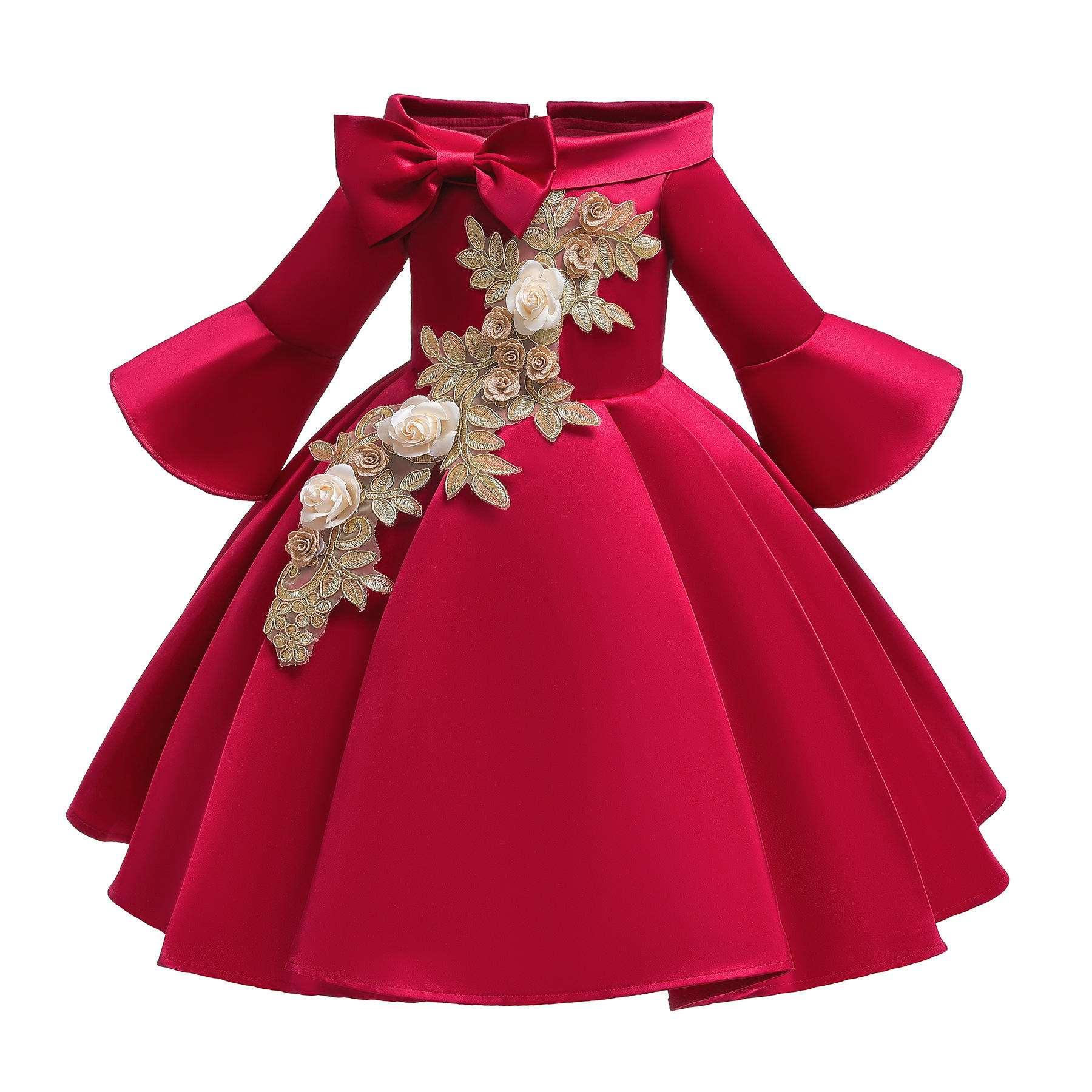 酷驰2020童装欧美童裙圣诞新年女童连衣裙 绣花儿童礼服裙