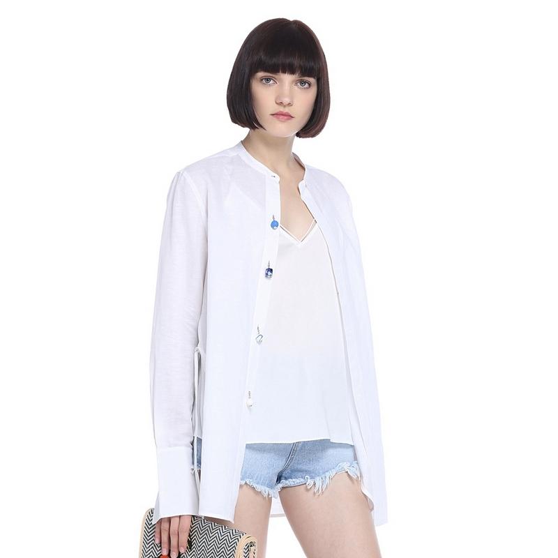 ochirly欧时力新女装中长款侧开叉系带亚麻棉长袖衬衫1JR2012960