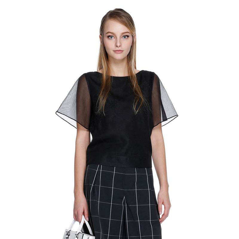 ochirly欧时力新女装纯色一字领绣花透视宽松短袖衬衫1HH2010990