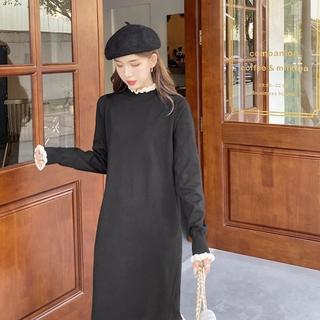 赫本风黑色针织毛衣连衣裙子2021年新款秋冬装女装打底内搭早秋款