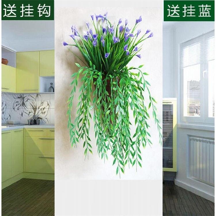 中國代購|中國批發-ibuy99|摆设|仿真玫瑰花客厅墙面装饰品绿植壁挂花藤垂吊藤条植物假花藤蔓摆设