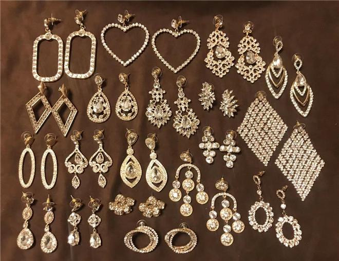 中国金色夸张耳环耳饰女气质奢华闪钻宝石吊坠欧美风vintage宫廷