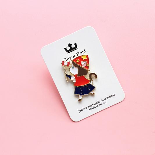 韩版 可爱的猫系女孩 胸针徽章 魔法小公主 外套毛衣大衣书包