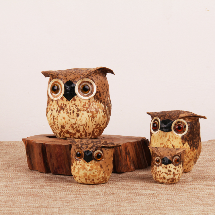 Bamboo shell owl ornaments, bamboo products, playing pieces, playing small things, special cultural and recreational tea ornaments