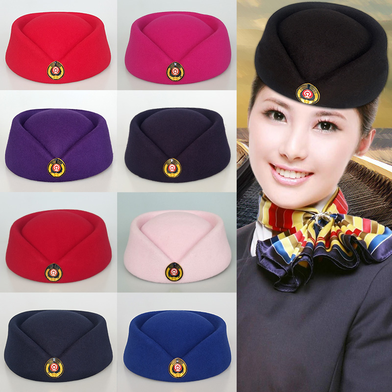 . High speed train crew, conductor hat, railway girl hat, ceremonial hat, red performance of railway school students