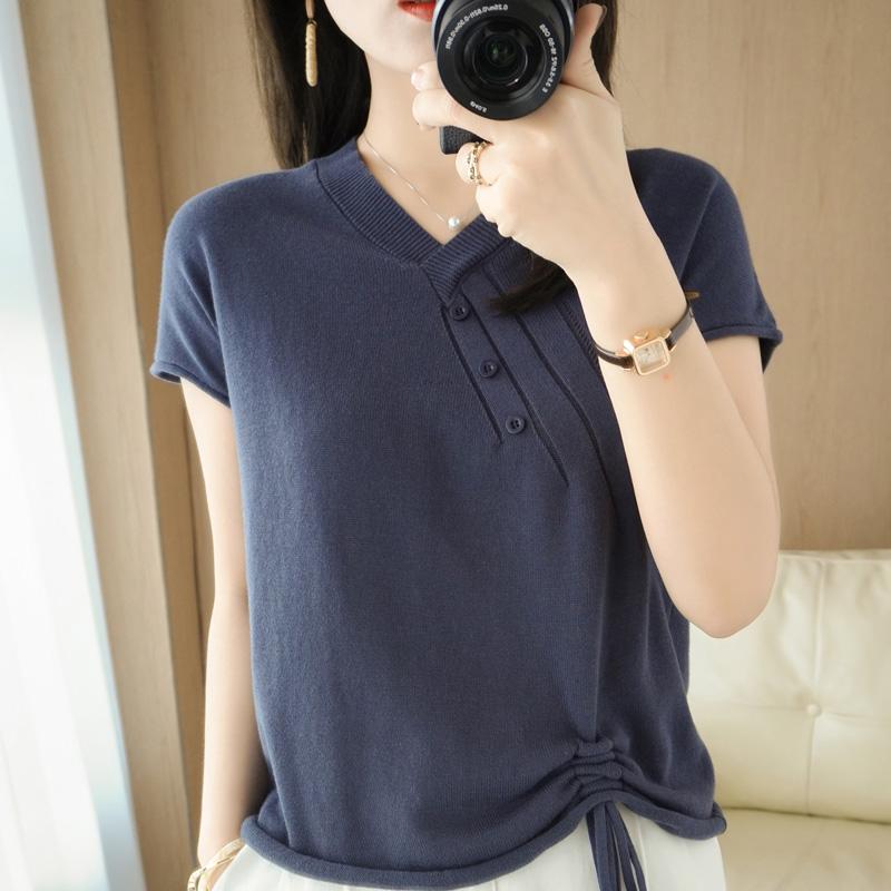 2021春夏新款V领100%纯棉线针织T恤宽松短袖新疆棉麻半袖女式上衣