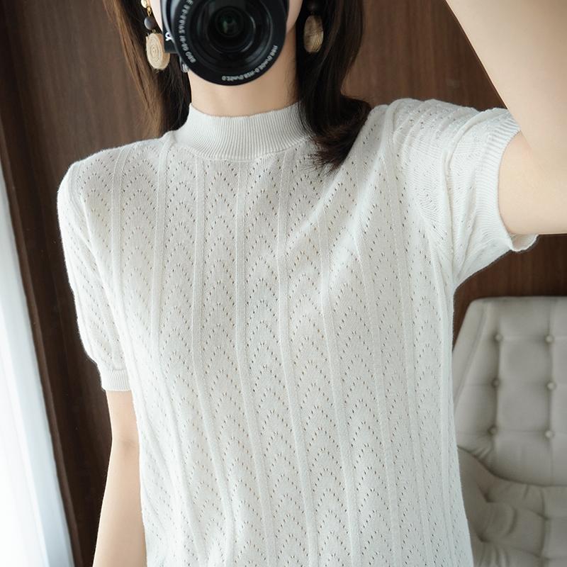 夏秋2021新品针织半高领镂空薄款针织衫纯棉上衣微透短袖Tt恤半袖