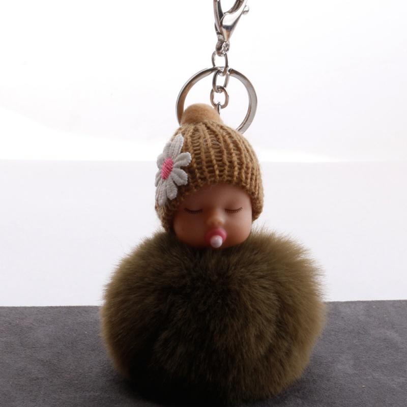 2020中国娃钥匙扣玩偶公仔闭眼头diy配件睡奶嘴娃娃头毛绒娃娃。