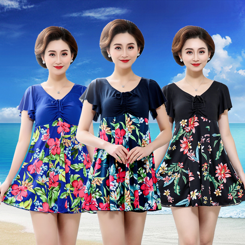 Large size split swimsuit for middle-aged and elderly womens skirt type two-piece set covering the belly and showing thin bathing in hot spring mothers suit womens swimsuit