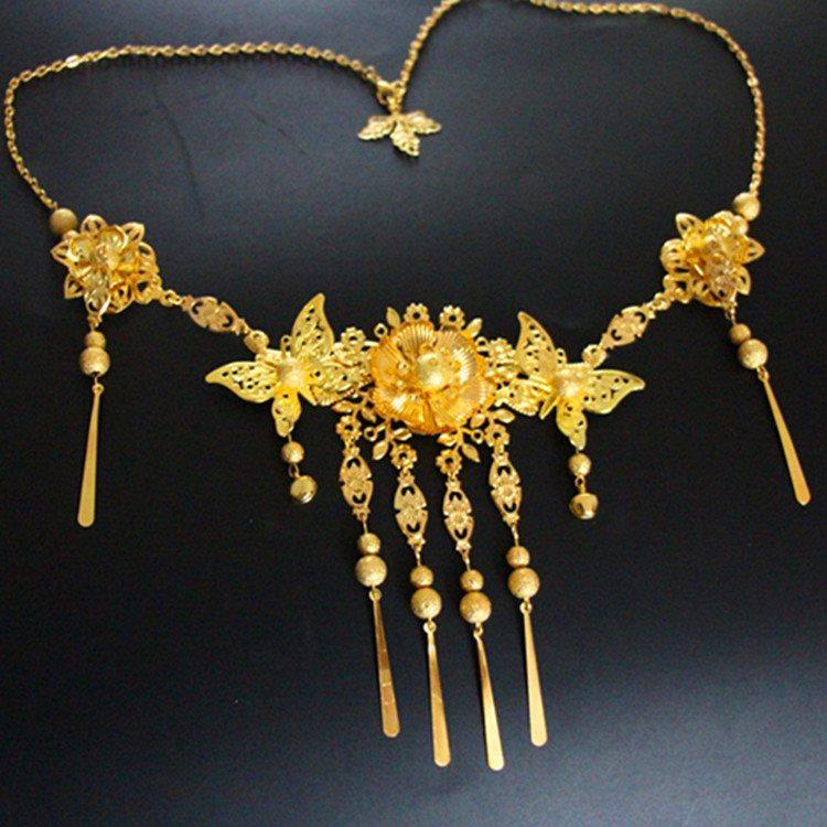 纯手工古装新娘流苏项链 纯金色项链 秀禾服龙凤褂胸链项链