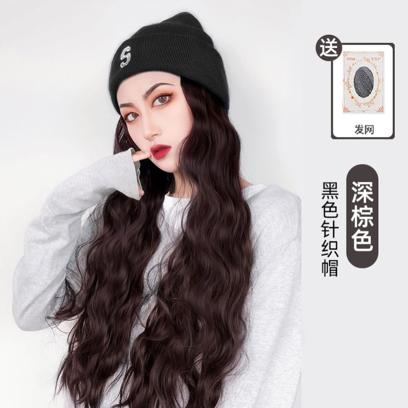 Wig female long hair with hat in one autumn and winter fashion long curly hair net red trend corn perm natural full head cover