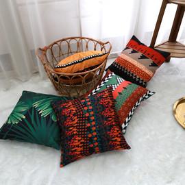 撞色抱枕靠垫沙发抱枕套客厅大靠背北欧不含芯正方形布艺汽车腰靠