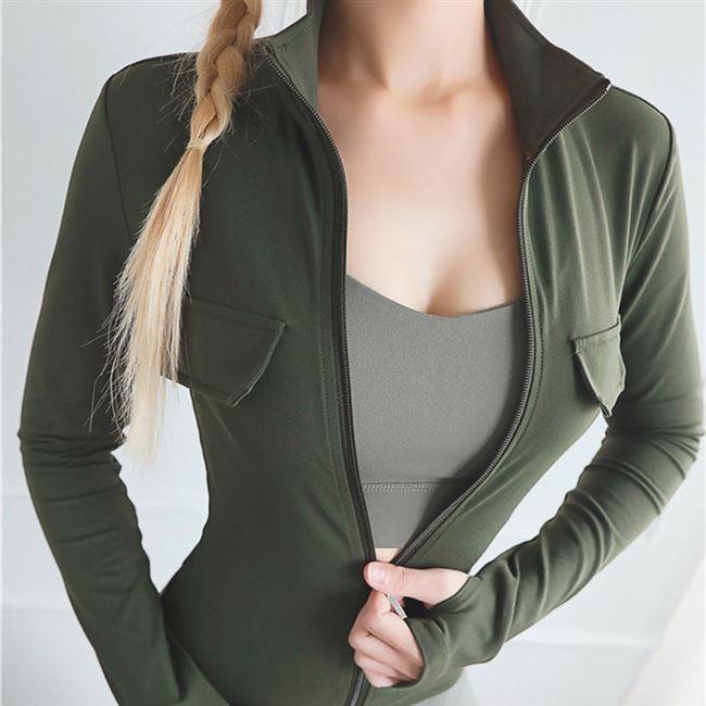 Pocket sports coat leisure coat womens Fitness Yoga top sleeve fitness suit zipper vest sling collar black