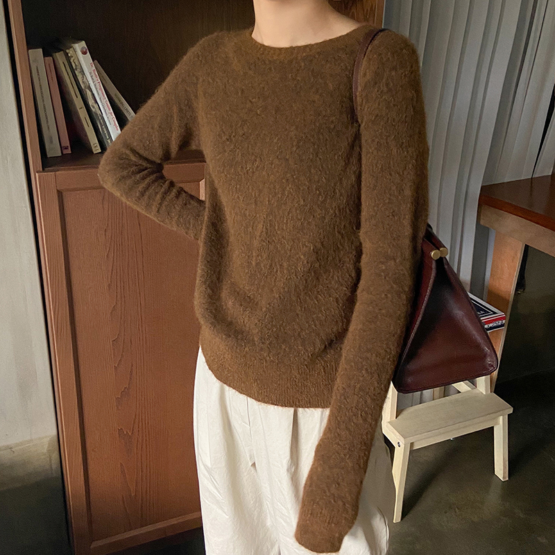 Womens sweater Mori languid mohair wool blended Short Knitwear solid color simple versatile Pullover